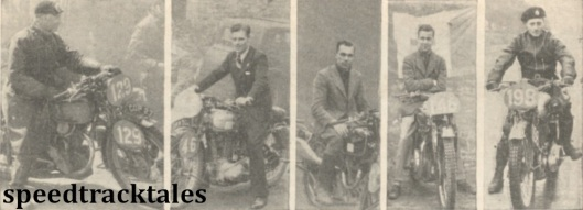 photo - These competitors went home smiling they all won gold medals L-R #129 H.G.T Smith (349 Excelsior), #46 A. Jeffries (249 Triumph), W. Tiffin Jnr (349 Velocette) #146 A Archer (497 Ariel) F M Rist (500 BSA) ISDT 1938 (Mortons Archive)