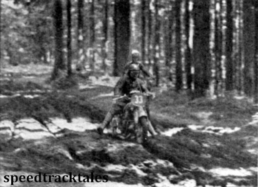 Photo - B Nocchi (500 Guzzi) ploughs his way through the mud that was encountered in the woodland section after the check at Ungenach. ISDT 1939 (Speedtracktales Archive)