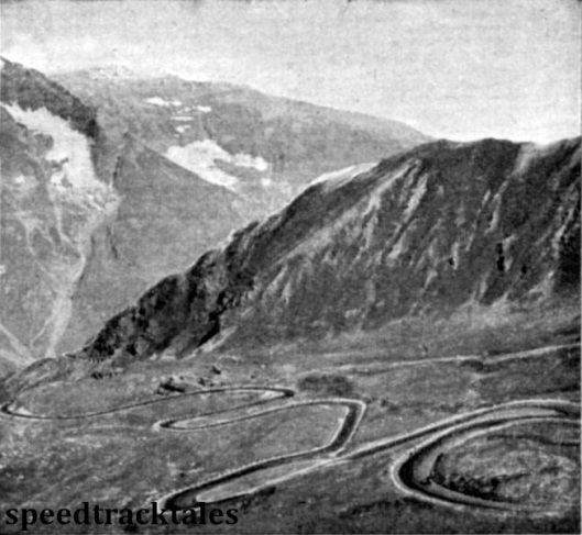 Photo - the wild beauty of the Grossglockner Pass with its magnificently engineered road is seen in this view from one of the resting places provided for the tourists - but not for competitors in the trial ISDT 1939 (Speedtracktales Archive)