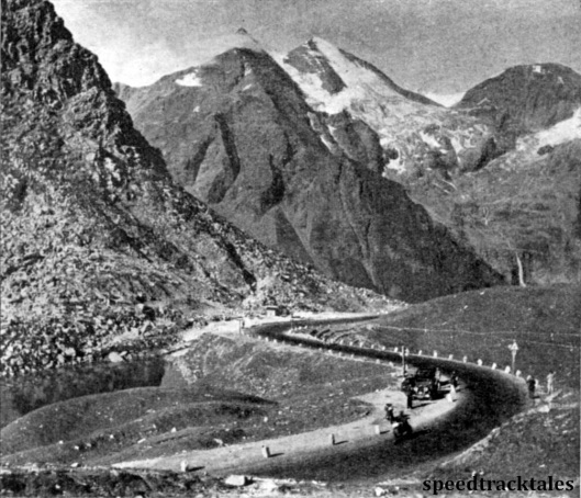 Photo - Near the summit of the Grossglockner, where every tourist stops to admire the magnificent mountain views which are on every hand. ISDT 1939 (Speedtracktales Archive)