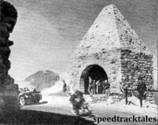Photo - This stone hut situated at the summit of the Grossglockner Pass marks the end of the great climb of nearly 8000ft. Inside the building is a tablet to the memory of those whose enterprise it was. ISDT 1939 (Speedtracktales Archive)