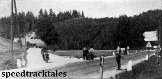 Photo - Good roads again at last, and not far from the end of the tiring first day's run. L Heath (497 Ariel) leaves the rough stuff behind at Vöklm. ISDT 1939 (Speedtracktales Archive)