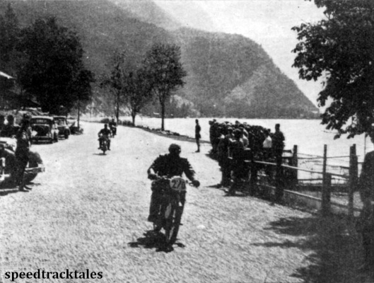 Photo - This party of Hitler Youth and Nazi officials found this a pleasant spot from which to watch the trial. ISDT 1939 (Speedtracktales Archive)