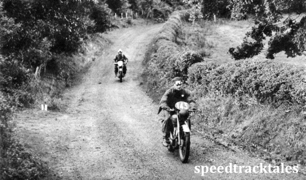 Photo - #143 TF Collingwood (348 BSA) and A Ormesher (348 BSA) in one of the many twisting hedged lanes ISDT 1950 (Speedtracktales Archive)