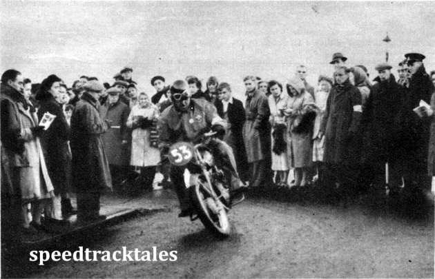 Photo - an Italian Trophy Team member G. Strada (250 Sertum),leaving the starting control at Llandrindod Wells ISDT 1950 (Speedtracktales Archive)