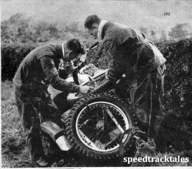 Photo - Trouble on route AG Brown (490 Norton sc) and his passenger in bother with a damaged sidecar wheel ISDT 1950 (Speedtracktales Archive)