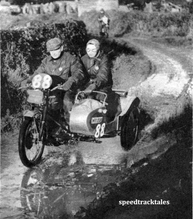Photo - #88 F Wilkins (497 Ariel sc), followed by CP Dunne (197 James), on a wet, muddy lane near Pen y Bont. ISDT 1950 (Speedtracktales Archive)