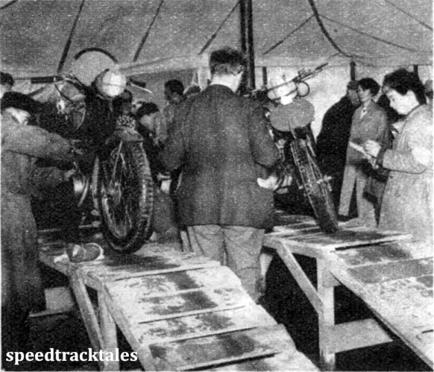 Photo - a glimpse inside the marquee where the machines had their components sealed. ISDT 1950 (Speedtracktales Archive)