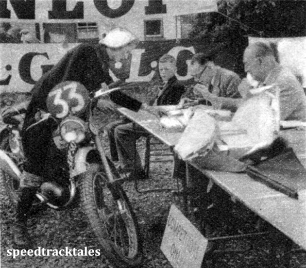 Photo - #33 Mrs P. Hughes (123 BSA) a BSA Factory entry, at Weighing in. ISDT 1950 (Speedtracktales Archive)
