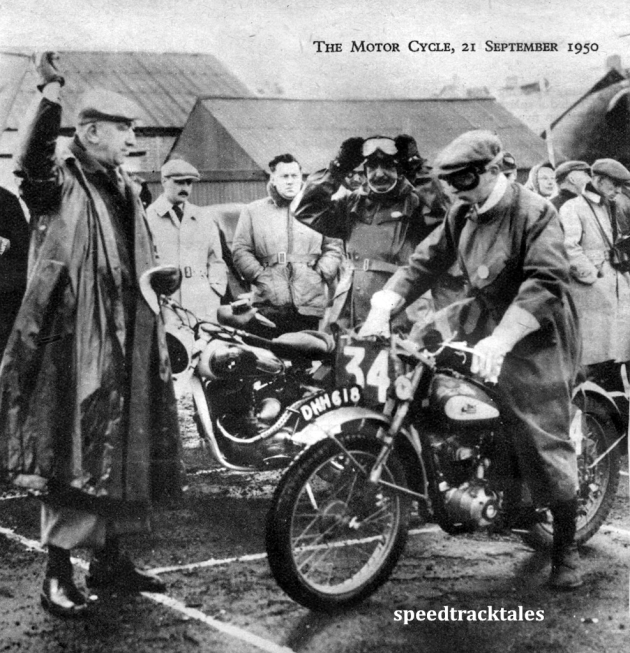 Photo - Lieut (E) D Horton (123 BSA) awaits the signal to start. Behind him is the Austrian Trophy team rider S Cymral (248 Puch) ISDT 1950 (Speedtracktales Archive)