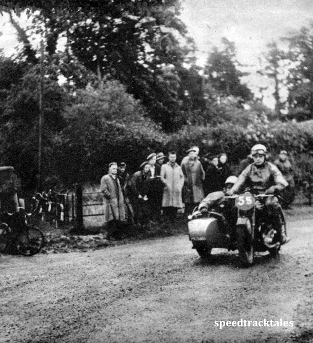 Photo - An Ariel Square Four with the sidecar on the right. The driver is H. Zuur, from Holland. ISDT 1950 (Speedtracktales Archive)