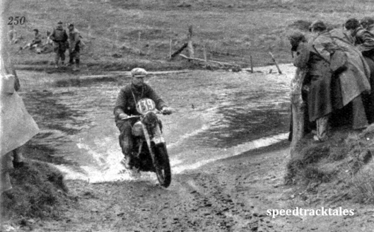 Photo - Only Matchless twin in the trial ; the rider is #139 JF Kentish ISDT 1950 (Speedtracktales Archive)