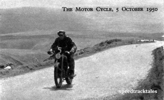 Photo - One of the three 125cc machines to finish - #5 EW Smith (DMW) ISDT 1950 (Speedtracktales Archive)