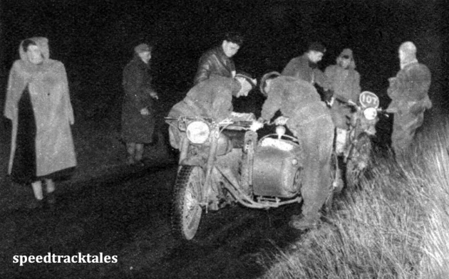 Photo - Night-run scene of HR Taylor (Sunbean sc) and #107 B Nystrom (Royal Enfield) ISDT 1950 (Speedtracktales Archive)