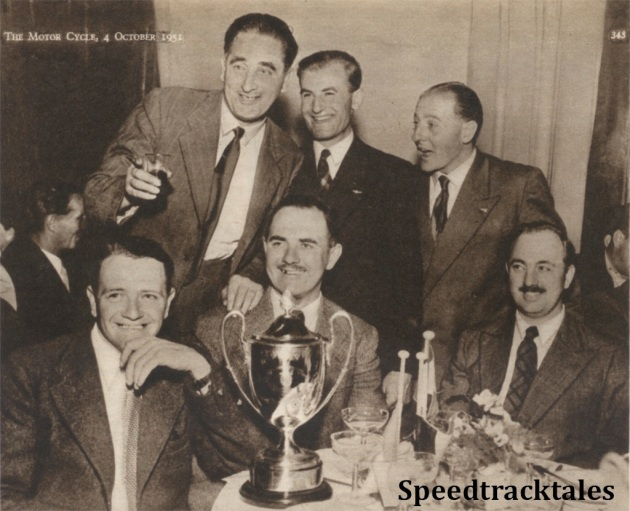 photo -Hail, the victors! A jolly, informal picture of the Trophy Team after their success ISDT 1951 (Speedtracktales Collection)