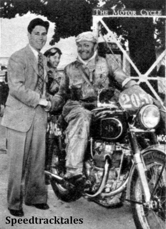 photo - Geoff Duke greets #205 Hugh Viney ISDT 1951 (Speedtracktales Collection)