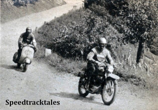 photo - F. D'Ignazio (125 Morini) and M. Riva (125 Vespa) on a dusty road near Valeso ISDT 1951 (Speedtracktales Collection)