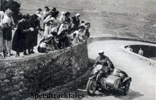 photo - Everywhere the people turned out to watch the competitors. Picture shows R. Wagger (646 B>S>A> sc) cornering at speed ISDT 1951 (Speedtracktales Collection)