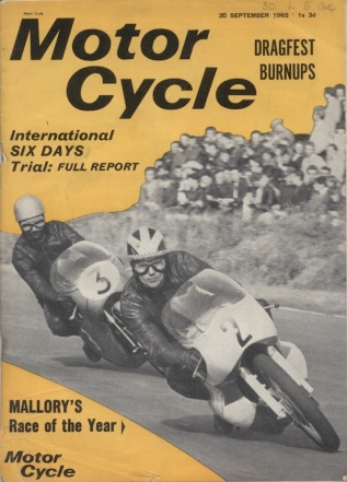 Image of scanned cover of the Motor Cycle 30 Sept 1965 with report ISDT 1965