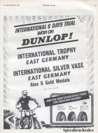 Image of scanned advert for ISDT 1965 success by Dunlop