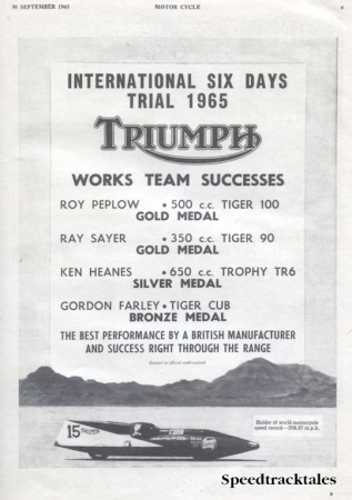 Image of scanned advert for ISDT 1965 success by Triumph