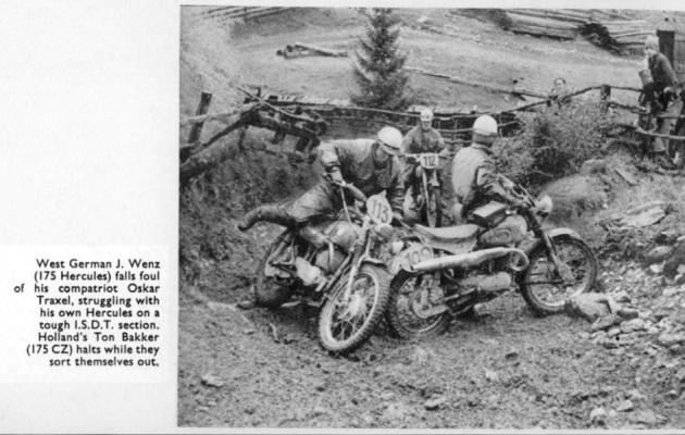 Motorcyles struggling on steep climb