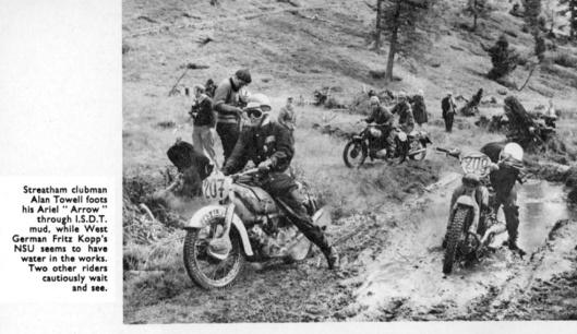 Riders struggling on wet climb