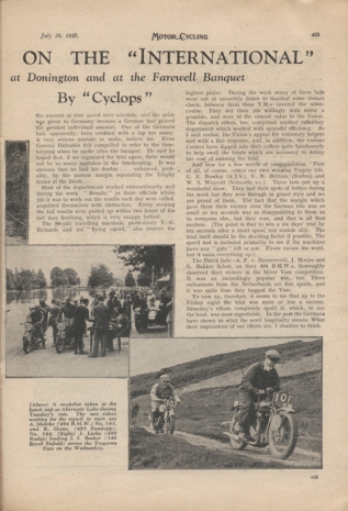 Image of scanned article Motor Cycling with review and analysis on the hosting of the event pt 2