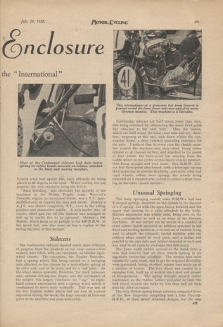 Image of scanned page from Motor Cycling report on the designs at the ISDT 1937 - 2