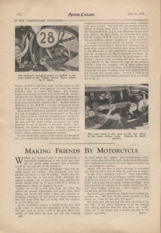 Image of scanned page from Motor Cycling report on the designs at the ISDT 1937 - 1