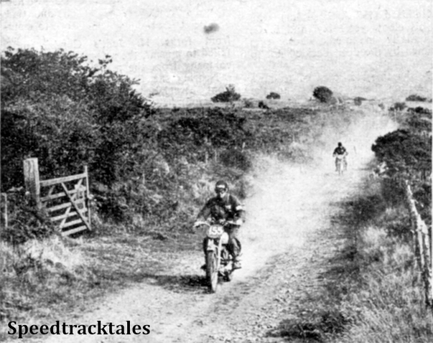 Photo - Along the dust-laden narrow road near Trecastle comes S B Manns (Triumph) followed by the Hungarian rider L Kochcsis 124cc Csepel ISDT 1949 (Speedtracktales Collection)