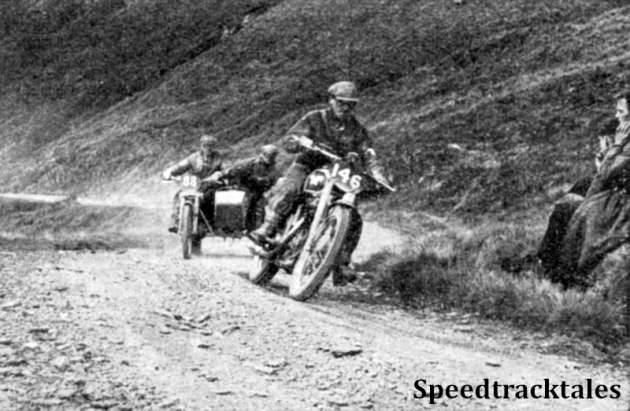 Photo - #146 Ted Usher (Matchless) climbs Bwlch y Groes followed by #88 A J Humphries (Norton sc) ISDT 1949 (Speedtracktales Collection)