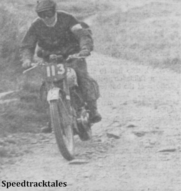 Photo - Great Britain Trophy Team rider #113 Fred Rist (BSA) gets a move on at Tregaron ISDT 1949 (Speedtracktales Collection)