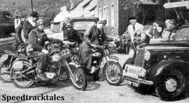 Photo - A scene at Abergorlech on Tuesday's run. Interested local residents watch the ACU official check-in #13 Johnny Britain (James) while #122 AF Gaymer (Triumph) Britian's Vase A Team member, #60 RS O'Neill (Velocette) and others queue up. ISDT 1949 (Speedtracktales Collection)