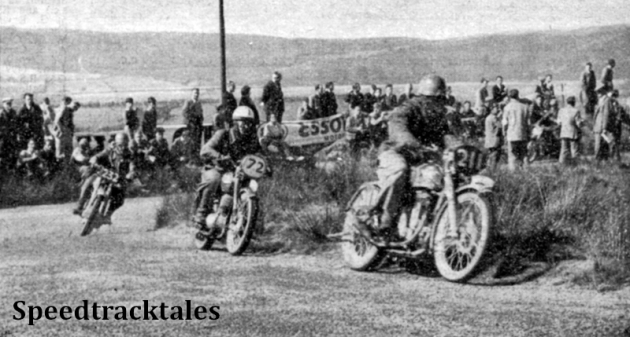Photo - Eppynt Speed Test Circuit #211 EH Stephens (347 Matchless) leads #72 A Dufek (259 Jawa) and #232 F Ridyard (348 BSA) round Dixie's Corner ISDT 1949 (Speedtracktales Collection)