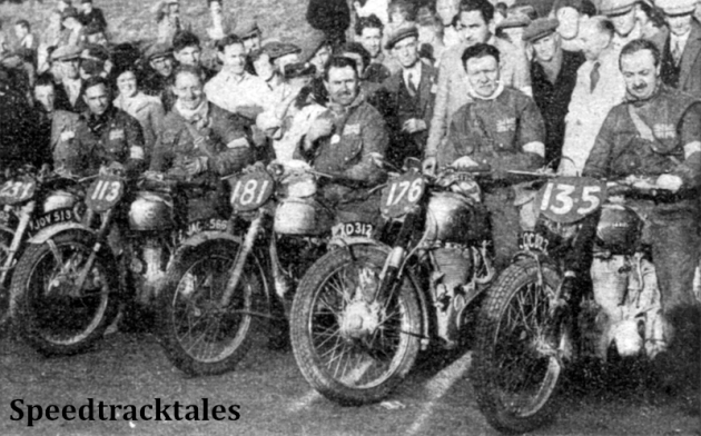 Photo - Men and models who retained the International Trophy for Great Britain (L to R) Charlie Rogers (Royal Enfield) Fred Rist (BSA), Jim Alves (Triumph, Hugh Viney (AJS) and Bob Ray (Ariel). Behind Viney stands Len Heath, team manager ISDT 1949 (Speedtracktales Collection)
