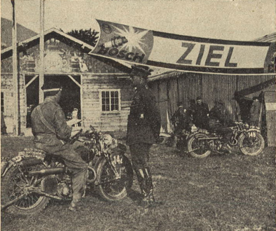 """Photo – The English Army participants did like the event, and they got along very well with the German Army teams. In this picture one can see #142 Sgt. Major Mackay on Matchless 350cc, together with Colonel Bennet. In the background # 148, Eigtheen, on Matchless 350cc. ISDT 1939 [at that time, no one in Germany distinguished """"British"""" from """"English"""", all British was seen as English] (das Motorrad)"""