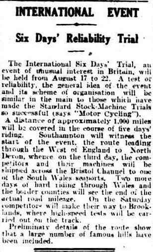 image - article on the event in the News, Adelaide 10th August 1925 ISDT 1925
