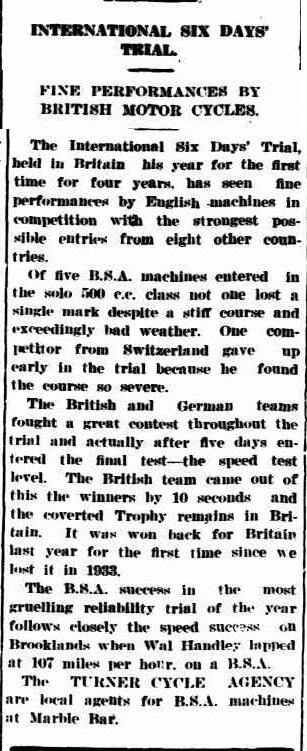 image - scanned article from 'the Northern Times' of Carnarvon, Western Australia comments on the ISDT 1937