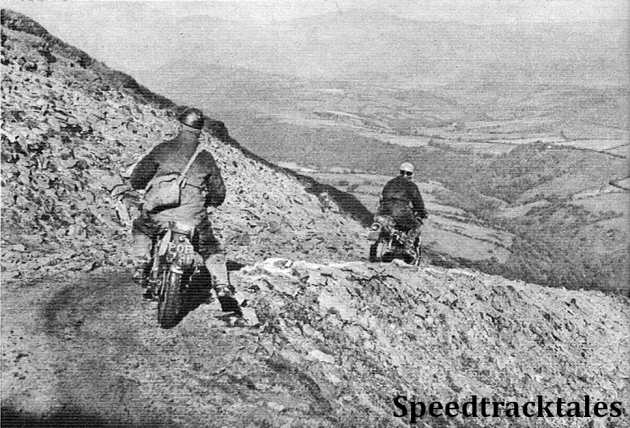 photo - T. de Vos (248 Puch) leads G. Pickering (148 BSA) along a loose mountain path during Thursday's run in North Wales ISDT 1954 (Speedtracktales Archive)