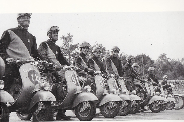 Photo - group of Vespa riders who competed in the ISDT 1951