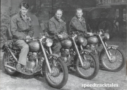 photo - the victorious ROYAL ENFIELD 1953 team: Johnny Brittain (Trophy), Don Evans (Vase A), and Jack Stocker (Trophy), all mounted on 500 twins