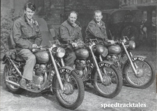 photo - the victorious ROYAL ENFIELD 1953 team: Johnny Brittain (Trophy) [LWP 424], Don Evans (Vase A) [LWP 423], and Jack Stocker (Trophy) [LWP 422], all mounted on 500 twins - ISDT 1953 (Speedtracktales collection)