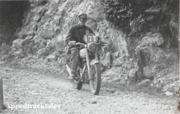 photo - W Clarke, (Irish Vase Team) amid the mountainous terrain and extremely rough road surfaces which characterised the 1951 event in Italy. ISDT 1951 (Speedtracktales collection)