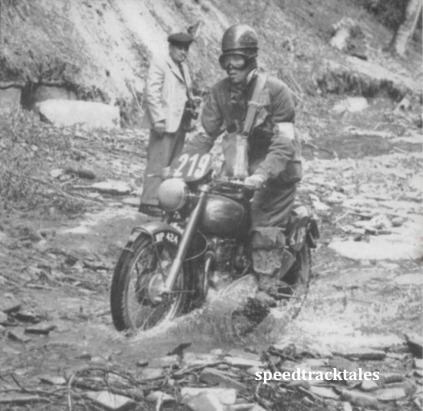"photo - Czechoslovakia: #219 Johnny Brittain (""500 twin"") [LWP 424], a member of the victorious Trophy Team, travelling with speed and confidence along the bed of a stream ISDT 1953 (Speedtracktales collection)"