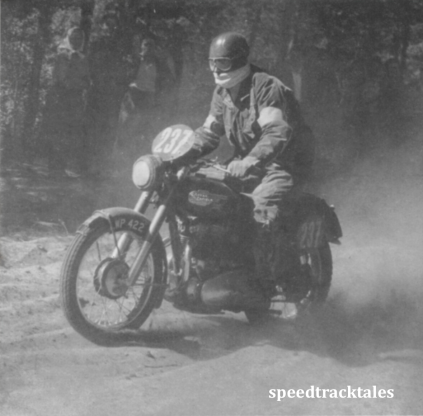 photo - #237 [LWP 422] deep sand and dusty tracks were typical of much of the course in Eastern Czechoslovakia. ISDT 1953 (Speedtracktales collection)