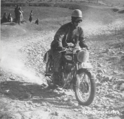 """photo - Czechoslovakia was noted for its dusty and boulder strewn tracks - Rudolf Nystrom , Swedish Vase Team (""""500 Bullet""""), takes them in his stride ISDT 1953 (Speedtracktales collection)"""