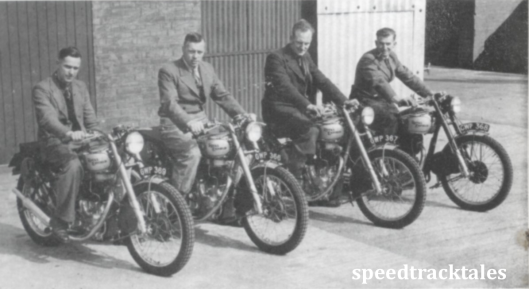 photo - Royal Enfield riders in the 1948 event. Left to right Charlie Rogers and Vic Brittain (Trophy Team members) Tom Ellis (reserve) and Jack Stocker (Vase A team) ISDT 1948 (Speedtracktales collection)