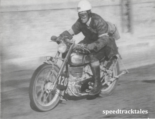 photo - #120 Jack Stocker [GWP 368] in the speed test at San Remo, at the conclusion of the trial. ISDT 1948 (Speedtracktales collection)