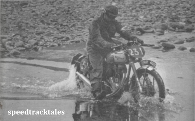 "photo - 1949 Wales: # 251 Charlie Rogers (""350 Bullet"") negotiating the Abergwesyn water splash in the heart of the Welsh mountains. The approach to the stream is typical of the rough going encountered through the trial. ISDT 1949 (Speedtracktales collection)"